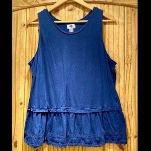 Blue Peplum Tank Top with Lace Detailing
